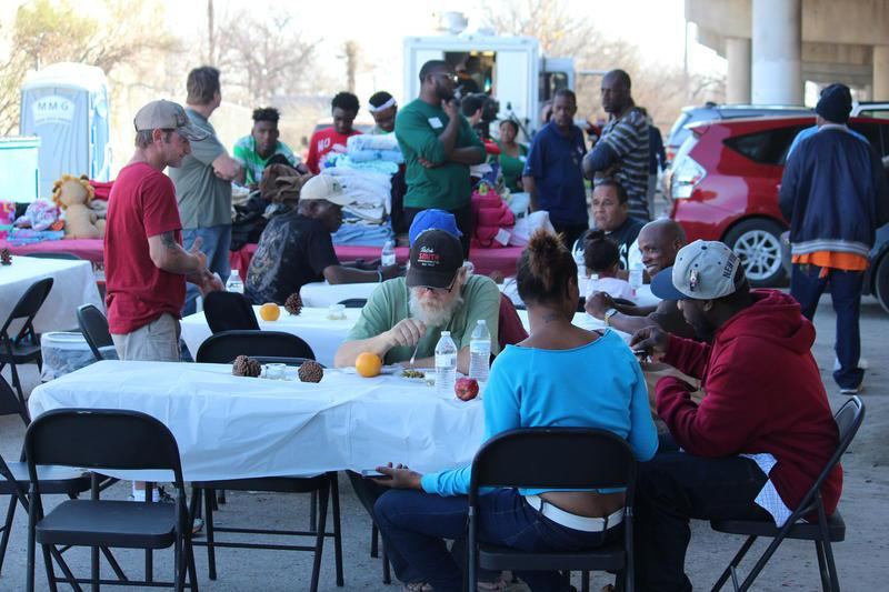 "In December 2015, Dallas entrepreneur Matthew Newman held a free lunch for the residents of ""Tent City,"" a homeless camp under I-45 in Dallas. It was shut down in May 2016."