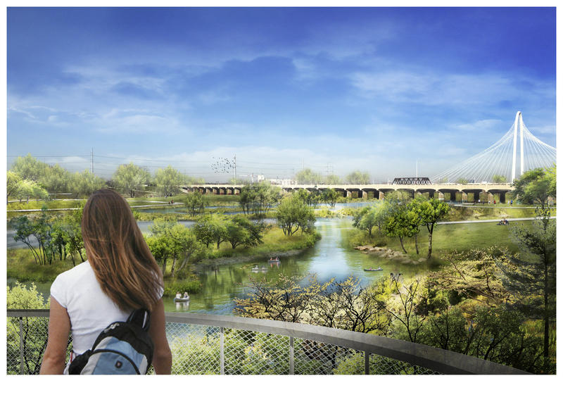 Renderings of an urban park along the Trinity River.