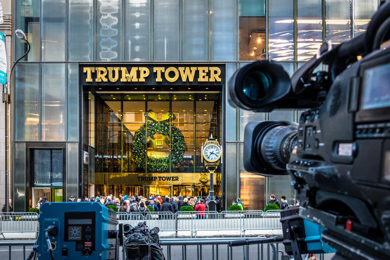 Media camera equipment recording the front of Trump Tower this month. The building has been under high security during Trump's transition.