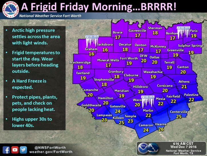Frigid temperatures, some of the coldest seen in years, will occur Thursday night and Friday morning.