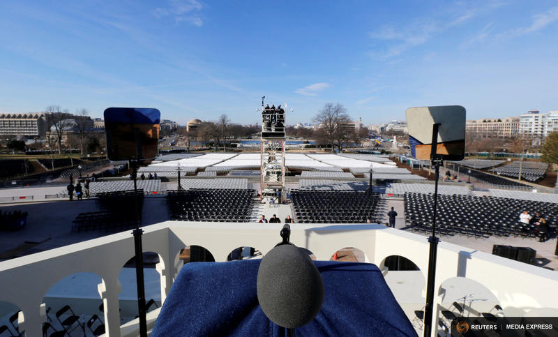 Donald Trump's view from his podium, where he will deliver his inaugural address, is seen during a dress rehearsal for the inauguration on the west front of the U.S. Capitol.