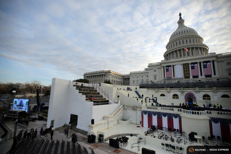 The U.S. Capitol during a rehearsal Thursday for the inauguration ceremony of Donald Trump in Washington D.C.
