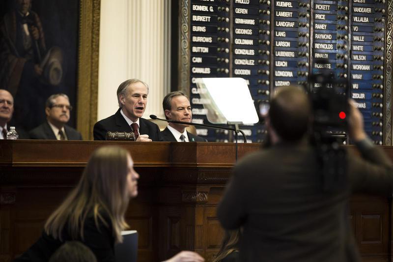 Gov. Greg Abbott delivers his State of the State address in the House of Representatives Chambers in the Capitol on Tuesday.