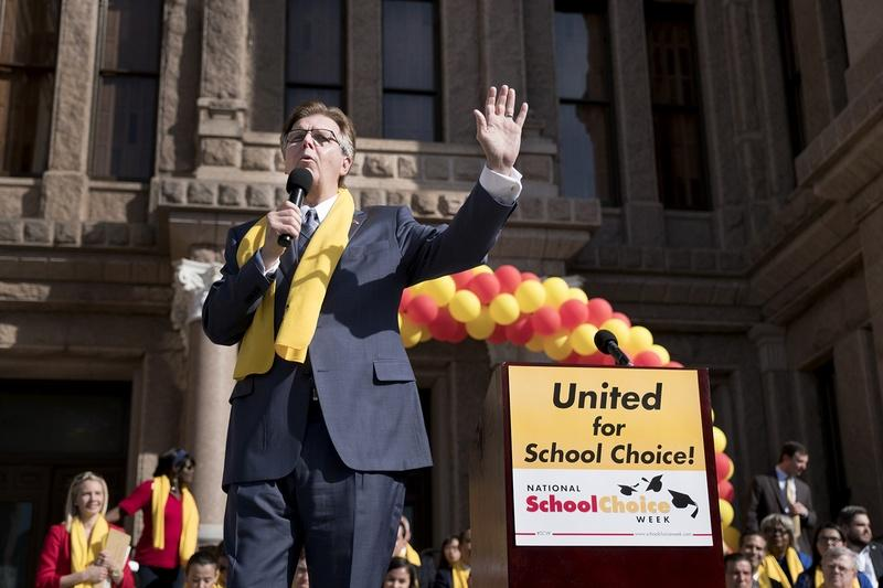 Lt. Gov. Dan Patrick speaks during a rally at the Capitol for school choice January 24, 2017.