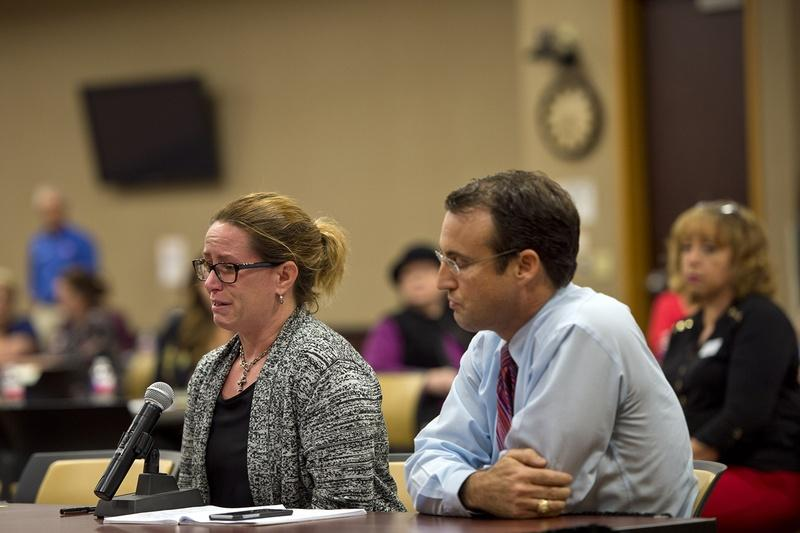Jean Gearhart gives a statement with her husband Troy to the panel about her special needs child. U.S. Department of Education officials held a meeting in Edinburg on their tour of Texas to hear community members' experiences with special education.