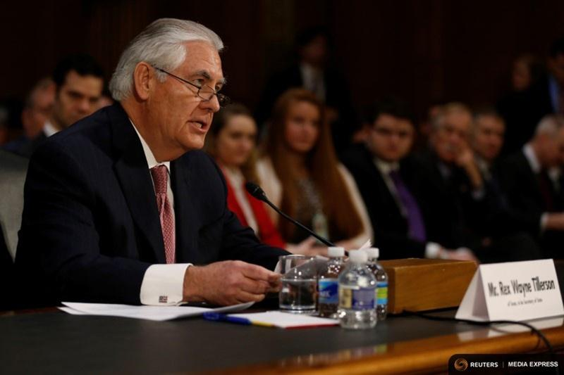 Rex Tillerson, the former chairman and chief executive officer of Exxon Mobil, testifies before a Senate Foreign Relations Committee confirmation hearing on his nomination to be U.S. secretary of state in Washington, D.C. on January 11, 2017.