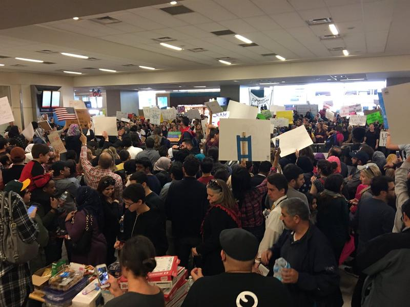 Crowds protested for two days at DFW Airport's international terminal.