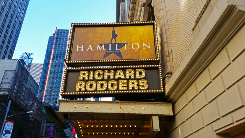 """The marquee of """"Hamilton: An American Musical,"""" at the Richard Rogers Theater in New York on Nov. 12, 2016."""