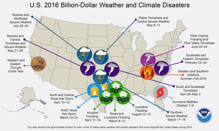 Texas saw seven of the year's 15 most costly weather and climate disasters recorded by the NOAA.