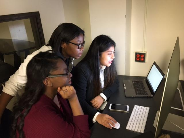 Ciera Brooks, Kametrea William and Evelyn Morales work on their short film submission at Lincoln High School.