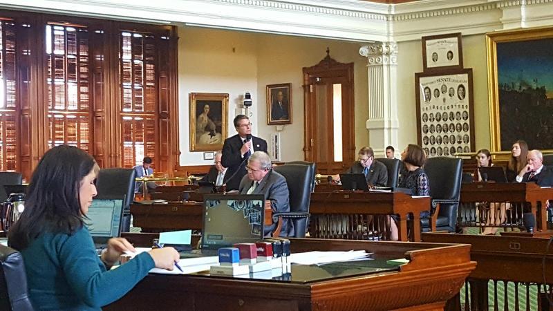 Sen. Charles Perry (R-Lubbock) presents SB 4 on the Senate floor.