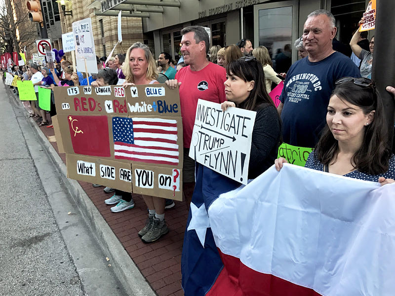 Protesters rallied outside of the Tarrant County GOP's annual fundraising gala. Among other things, they demanded an investigation of President Trump's ties to Russia. Utah Rep. Jason Chaffetz, chair of the House Oversight Committee, was at the event.