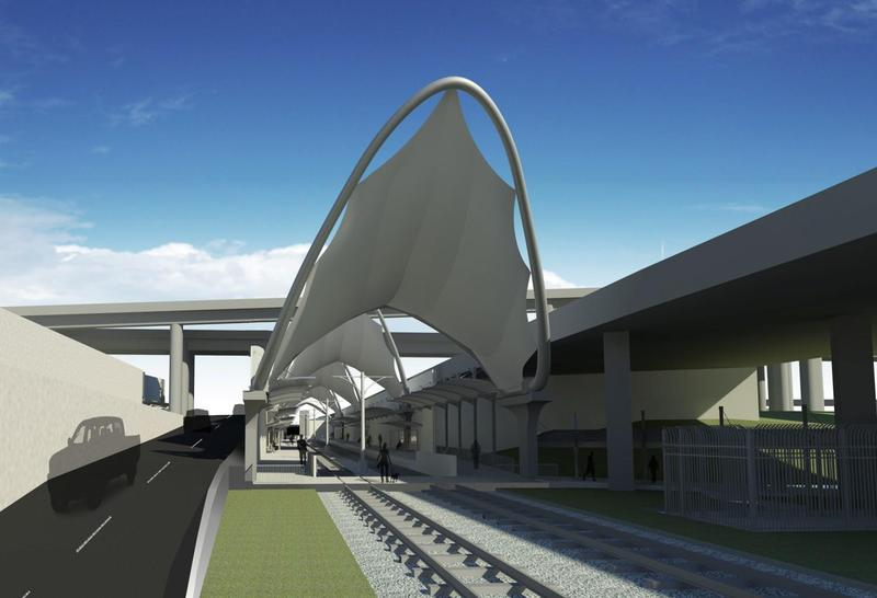 A rendering of the TEX Rail station at Terminal B at Dallas-Fort Worth International Airport.