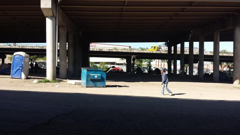 Tent City, the homeless encampment under Interstate 45, was closed last May.