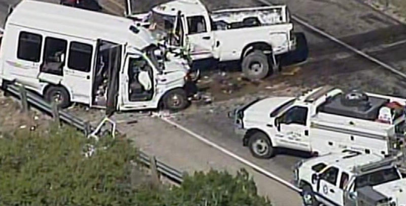 A still image of aerial video is shown of an accident scene involving a Texas bus carrying senior citizens. The bus crashed head-on with another vehicle about 75 miles west of San Antonio.