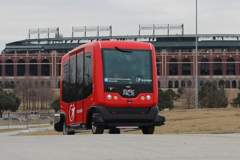 The Alliance for Transportation Innovation in February 2016 offered Texans trips in a driverless shuttle that maneuvered along a pre-programmed route in parking lots near Globe Life Park in Arlington.