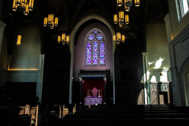 The Church of the Incarnation recently installed this stained glass window made in the United Kingdom.