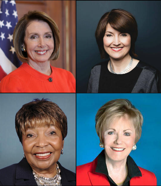 Clockwise from top left: Democratic House Minority Leader Nancy Pelosi, U.S. Rep. Cathy McMorris Rodgers (R-WA), U.S. Rep. Kay Granger (R-TX) and U.S. Rep. Eddie Bernice Johnson (D-Texas).