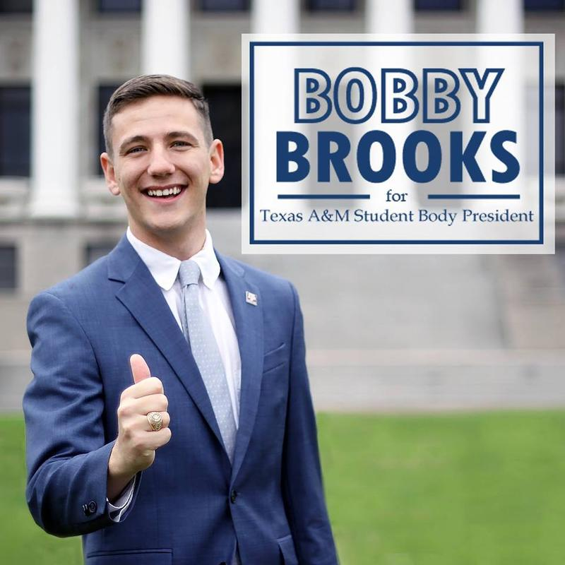 Bobby Brooks was elected by A&M students this month — making him the first openly gay student body president in the school's history.