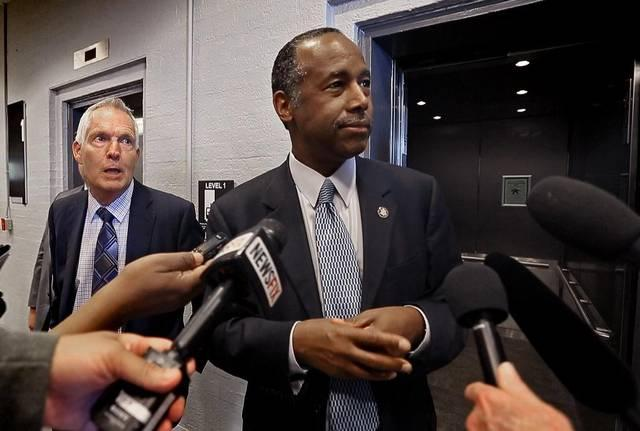 HUD Secretary Ben Carson met the media briefly Wednesday after touring the Hunter Plaza Apartments in downtown Fort Worth.