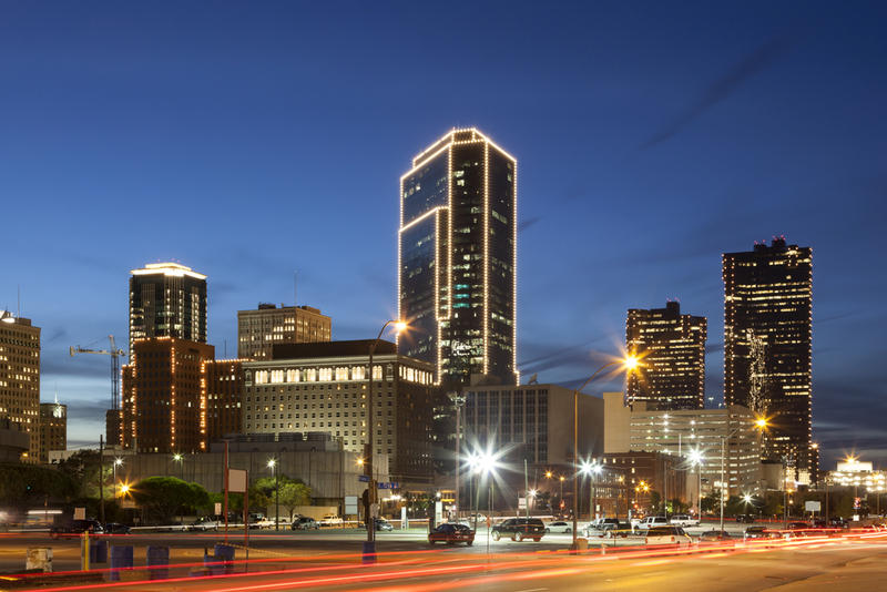 Downtown Fort Worth at night.