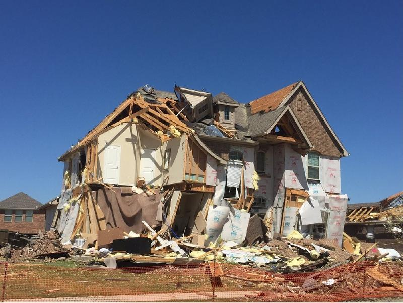 One of the homes damaged by the high winds early Wednesday morning in Rockwall.