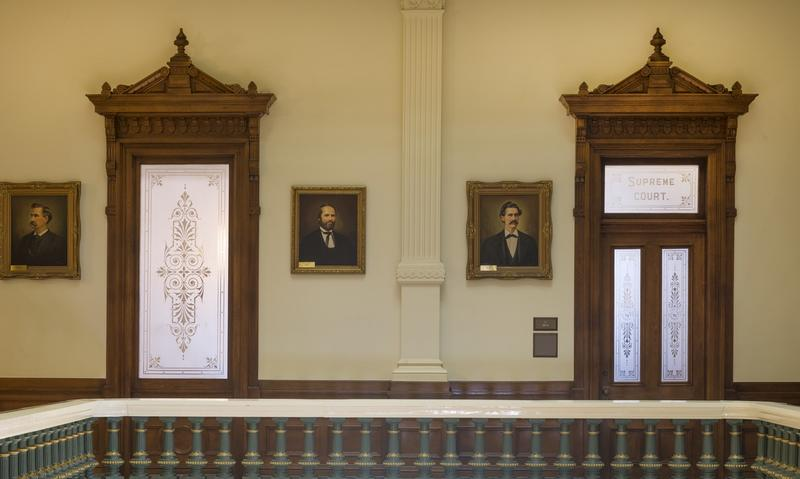 Doorways to the Texas Supreme Court chamber in Austin.
