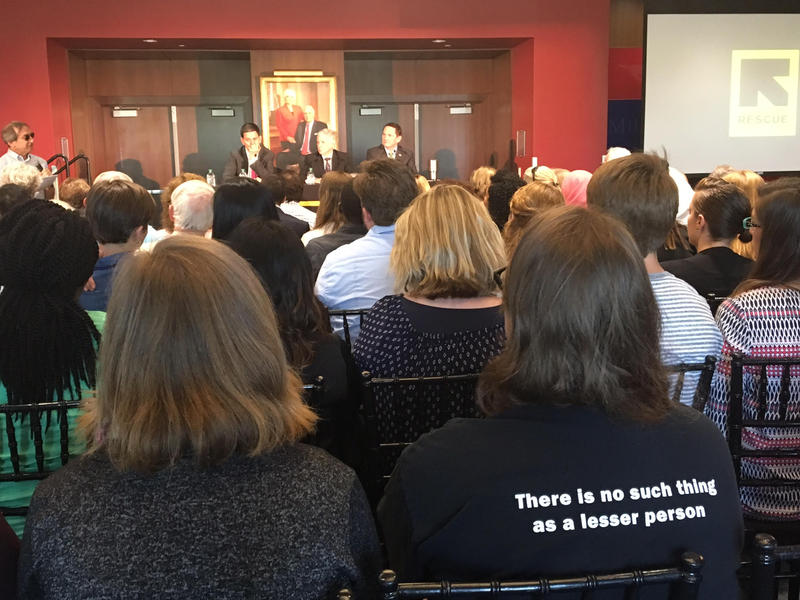 About 150 people gathered at a forum at SMU on Tuesday to learn about refugees.
