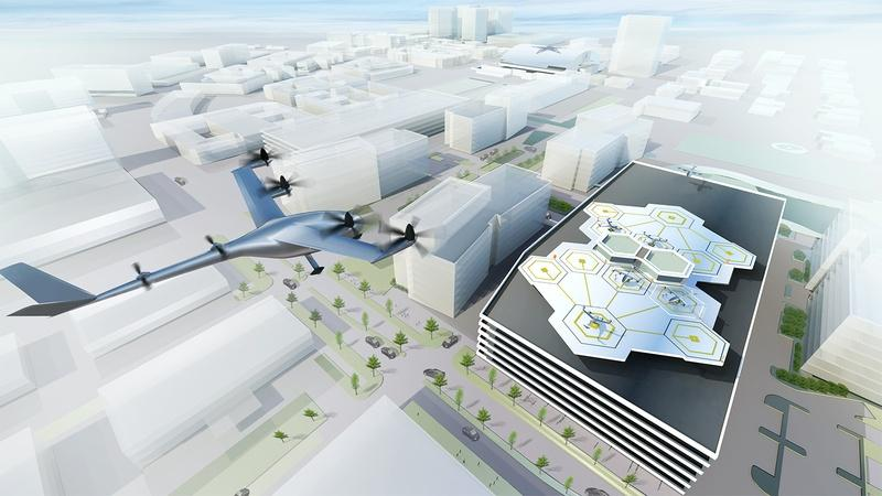 Artist's visualization of a Vertical Take-off and Landing (VTOL) aircraft in Dallas.