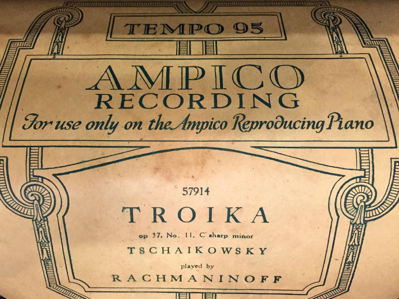 "Ampico Recording Roll Of Sergei Rachmaninoff's performance of Pyotr Ilyich Tchaikovsky's ""Troika"", No. 11 from The Seasons (Op. 37a)"