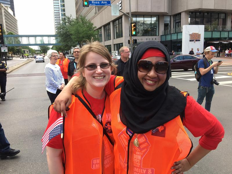 Friends Abigail Strube and Ranya Rahim are participating in the Mega March Sunday.