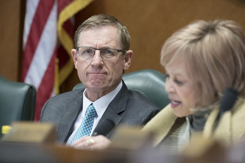 State Rep. Byron Cook, R-Corsicana, listens to the first round of testimony of hundreds signed up against SB 4 the sanctuary cities bill on March 15, 2017.
