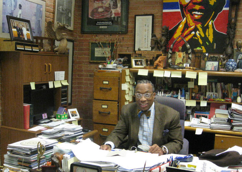 Dallas County Commissioner John Wiley Price at work in his downtown District 3 office.