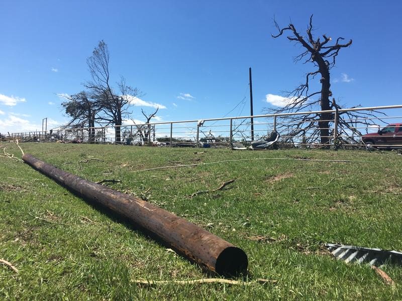 A downed utility poll outside Canton in Van Zandt County.