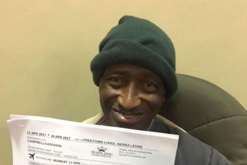 Gershon Campbell, 74, was Austin Street Center's longest homeless guest, and now he's on his way back home to Sierra Leone with the help of the shelter's crowdfunding campaign.