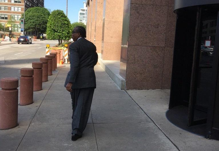 John Wiley Price arrives in court April 18, 2017 for closing arguments in his federal corruption trial.