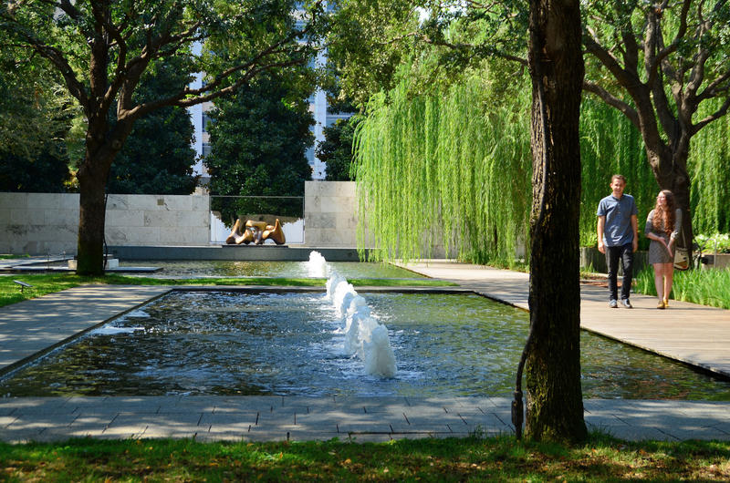 The Nasher Sculpture Garden in the Dallas Arts District.
