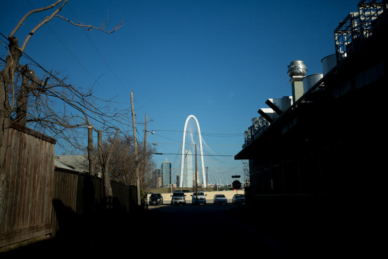 "The Margaret Hunt Hill Bridge as seen from West Dallas. The gentrifying neighborhood is the subject of KERA's One Crisis Away series: ""No Place To Go."""