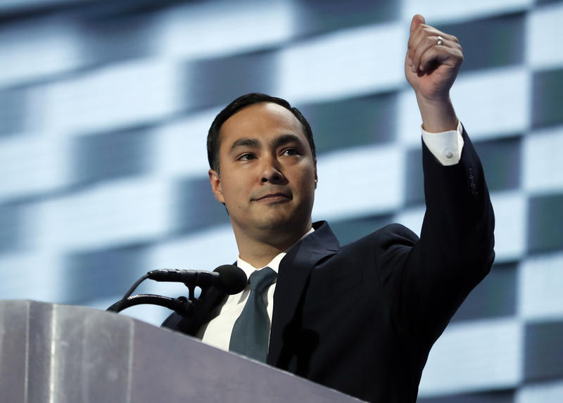 Rep. Joaquin Castro, D-Tex., gives his thumb up as he speaks during the final day of the Democratic National Convention in Philadelphia, Thursday, July 28, 2016.