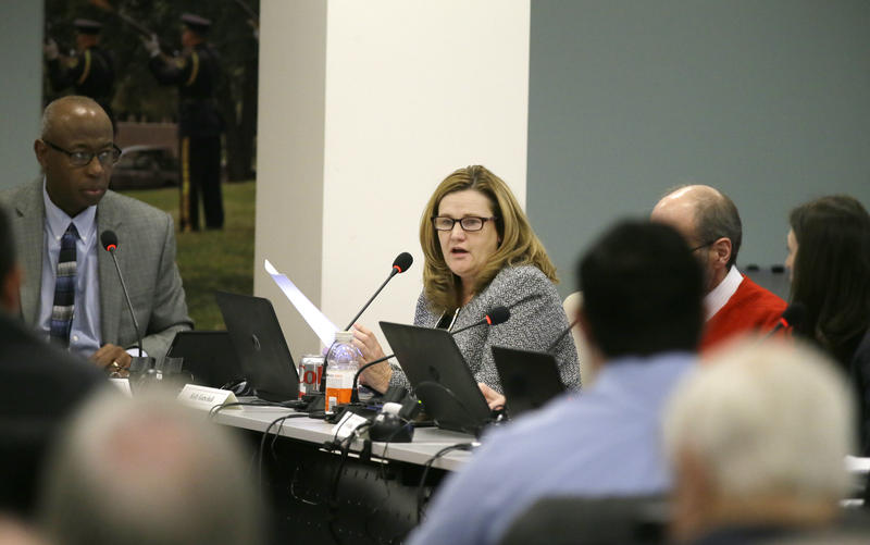 Kelly Gottschalk, executive director of the Dallas Police & Fire Pension System, speaks during a pension board of trustee meeting in Dallas on Dec. 8, 2016.