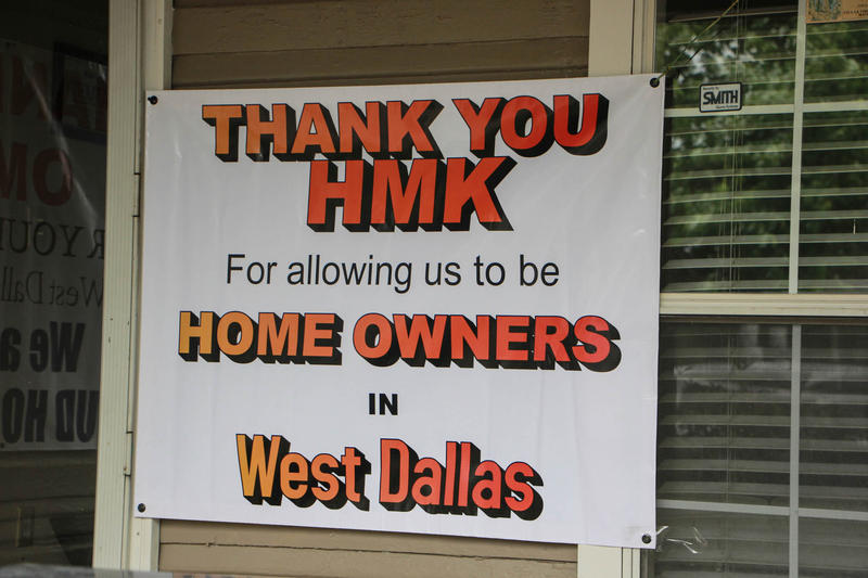 A sign on display at a home in West Dallas Monday morning. Officials announced plans to offer to sell about 75 rental homes to tenants.
