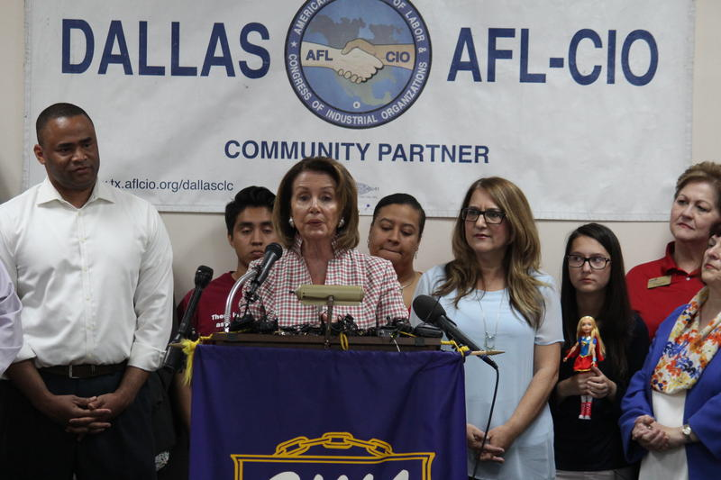 House Minority Leader Nancy Pelosi speaks at a Dallas Democrats rally event.