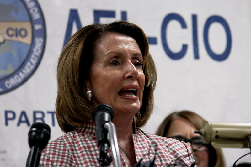 House Minority Leader Nancy Pelosi addressed workers and Democrats in Dallas on Thursday.