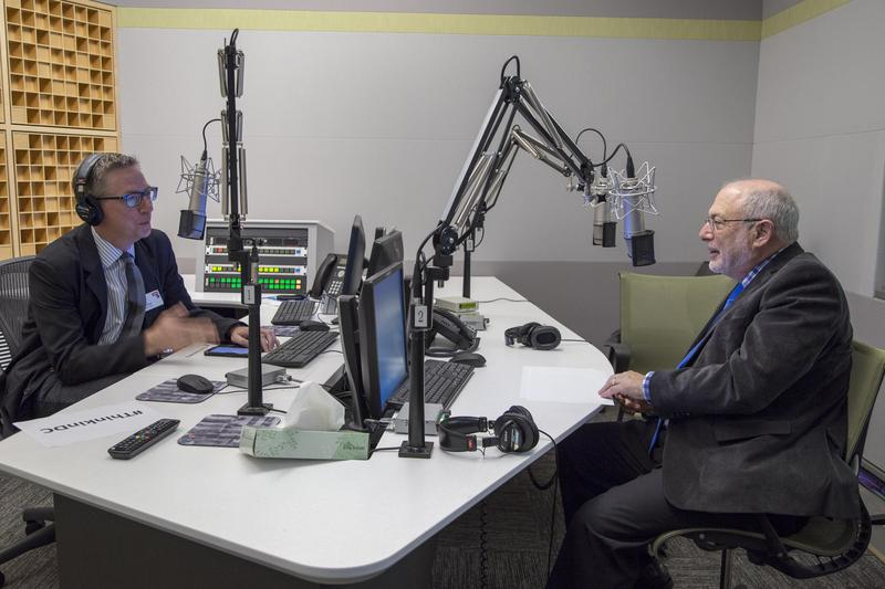 Robert Siegel (right) makes a rare appearance  in the guest chair at NPR, opposite KERA's Rick Holter.  Siegel joined NPR in 1976 as a newscaster; his last day after 30 years as All Things Considered host will be in January.