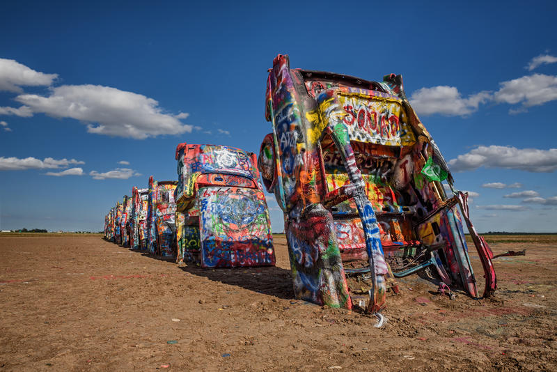 Cadillac Ranch in Amarillo is one of the iconic landmarks along Route 66 in Texas.