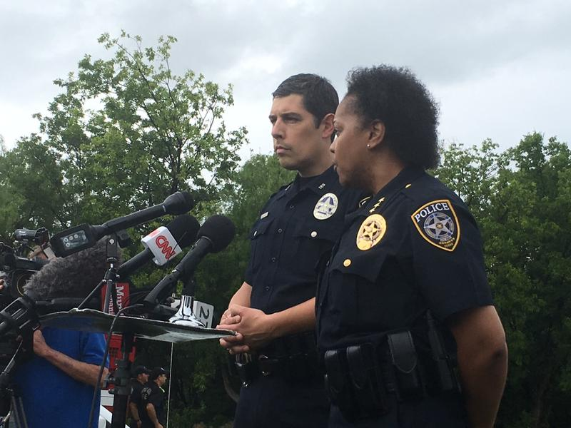 Irving police officers address reporters after a shooting Wednesday on North Lake College's campus.