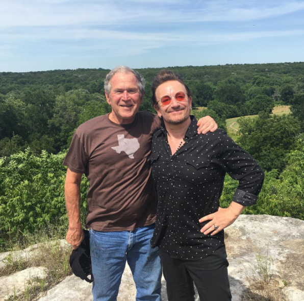 "Former President George W. Bush posted a picture Friday with Bono, saying: ""Bono is the real deal. He has a huge heart and a selfless soul, not to mention a decent voice."""