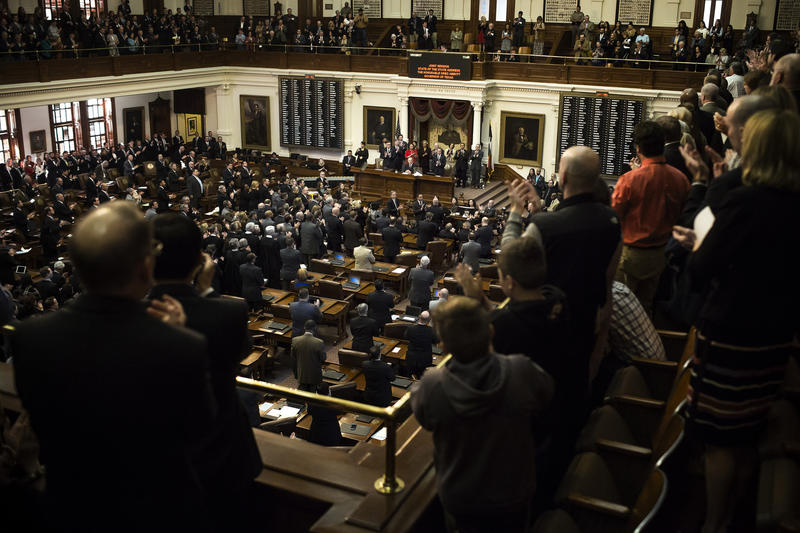 Texas Governor Greg Abbott gives his annual State of the State address in the House of Representatives Chambers in the Texas State Capitol on Jan. 31, 2017.
