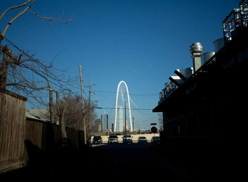 A view of the Margaret Hunt Hill bridge from a West Dallas neighborhood.