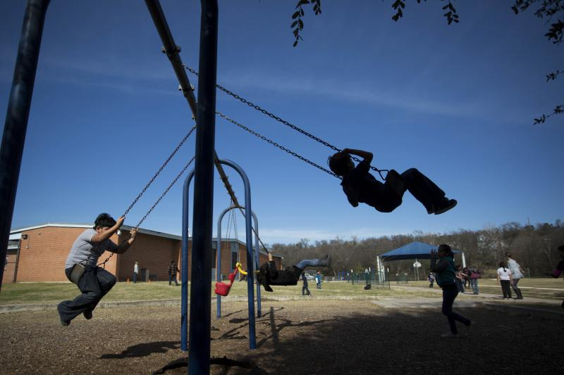 First grade students of Ortega Elementary School teachers Rosa Chavez and Katelyn Berndt play during recess in January.
